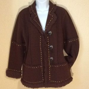 Icelandic Design boiled wool jacket, size M, brown
